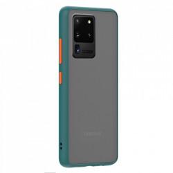 Husa Samsung Galaxy S20 Ultra- Colored buttons case- bumper verde inchis cu butoane portocalii