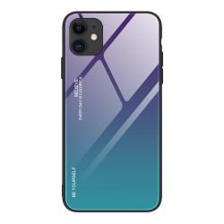 Husa Iphone 12 Mini-Gradient Glass Durable Cover din sticla securizata 9H -Albastru/Mov