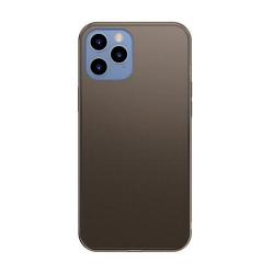Husa iPhone 12 Pro Max -Baseus Frosted Glass Case cu margine flexibila -Neagra