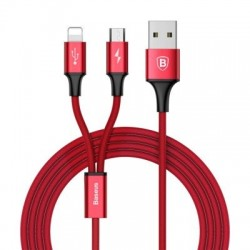 Cablu de date 2 in 1 Baseus Rapid Lightning / micro USB 1.2 M Rosu