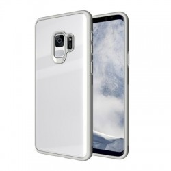 Husa cu spatele din sticlă securizata pentru Samsung S9-Alba