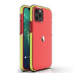 Husa Iphone 12 PRO / Iphone 12 -Spring Case- TPU transparent cu margini galbene