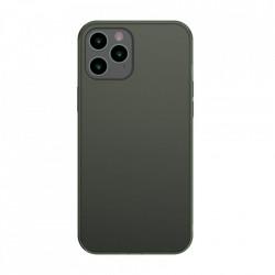 Husa iPhone 12 Pro Max -Baseus Frosted Glass Case cu margine flexibila -Dark Green