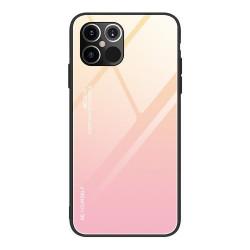 Husa Iphone 12 PRO MAX-Gradient Glass Durable Cover din sticla securizata 9H -Roz