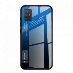 Husa Samsung Galaxy A71-Gradient Glass Durable Cover din sticla securizata 9H-Negru cu Albastru