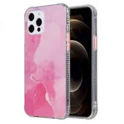 Husa Iphone 12 PRO / Iphone 12 - Coloured Glaze Marble Pink