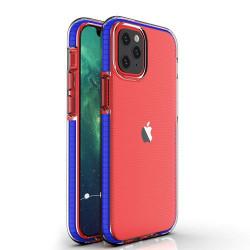 Husa Iphone 12 PRO / Iphone 12 -Spring Case- TPU transparent cu margini dark blue