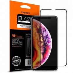 Sticla securizata Iphone XS MAX -Spigen Glass FC-margine neagra