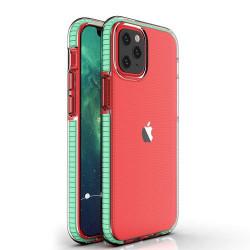 Husa Iphone 12 PRO / Iphone 12 -Spring Case- TPU transparent cu margini mint