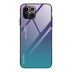 Husa Iphone 12 PRO MAX-Gradient Glass Durable Cover din sticla securizata 9H -Albastru/Mov