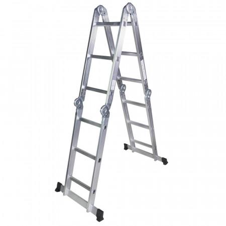 STR403 Scara multifunctionala din aluminiu 4 segmente x 3 trepte, 3.6 m