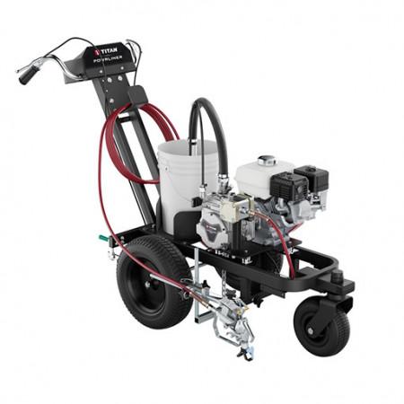 Echipament pentru trasat marcaje rutiere/sportive TITAN PowrLiner 3500, pompa airless cu membrana, viteza trasare 126.8 m/min., duza max. 0.027″, motor Honda 3.5 cp