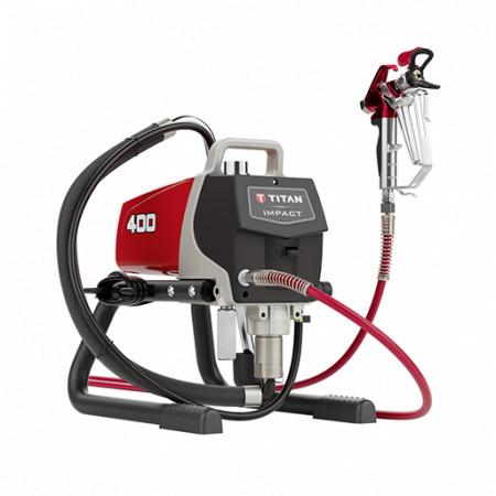 Pompa airless cu piston pentru zugravit TITAN Impact 400 Skid, debit material 1.8 l/min, motor electric 0,83 kW, 230V