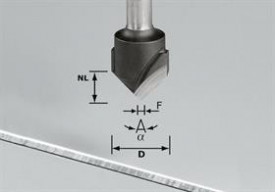 Freză de canelat in aluminiu in forma de V HW S8 D18-90°/Alu