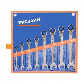 Set chei combinate PROJAH GearTech cu clichet reversibile 8 piese 8-19mm