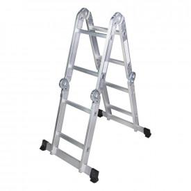 STR402 Scara multifunctionala din aluminiu 4 segmente x 2 trepte, 2.5m