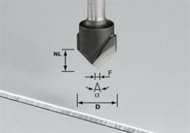 Freză de canelat in aluminiu in forma de V HW S8 D18-135°/Alu