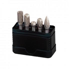 Set debavuratoare aliaj dur PROJAHN cu canelare incrucisata in cutie plastic 5 buc/set