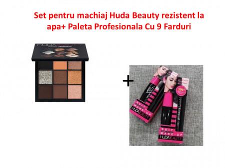 Set pentru machiaj Huda Beauty rezistent la apa+ Paleta Profesionala Cu 9 Farduri