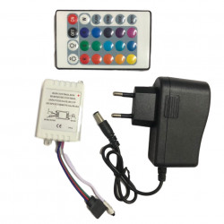 2 x Banda RGB LED cu 300 led-uri, 16 culori, telecomanda si joc de lumini multicolore