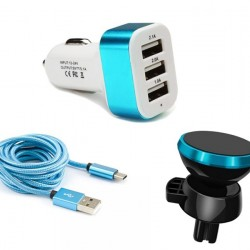 Pachet auto: Incarcator Auto + Suport Magnetic Auto + Cablu incarcare Android