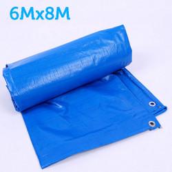 Prelata albastra impermeabila 6m x 8m cu inele , 160gr/m2