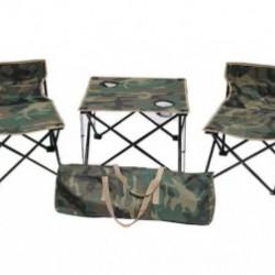 Set masa si 2 scaune pentru camping + CADOU Palarie protectie UV si racire, reglabila, marime universala