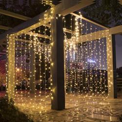 Instalatie LED Perdea 3x3m, Exterior, Fir Alb Gros