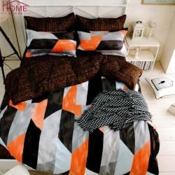 Lenjerie pat dublu, 4 piese, bumbac satinat, Orange-black