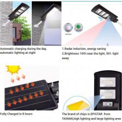Set 3 X Lampa stradala SOLARA 180W, telecomanda cu functii multiple