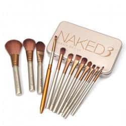 Set 12 pensule Make-up NKD 3 + Paleta Profesionala Cu 12 Farduri - Nude 02
