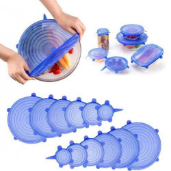 Set 6 capace din silicon extensibile, Albastre