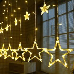 Instalatie 3 m, 12 stelute LED, Alb Cald