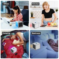 Mini Racitor aer portabil, 3 functii, lumina LED 7 culori, Alimentare USB, Alb