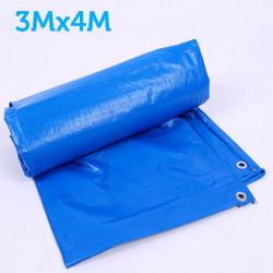 Prelata albastra impermeabila 3m x 4m cu inele , 160gr/m2