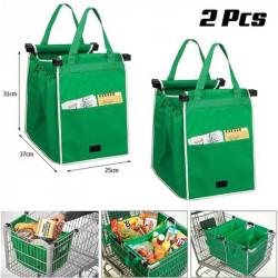 Set 2 sacose ideale si rezistente pentru cumparaturi, se pot monta la caruciorul din supermarket