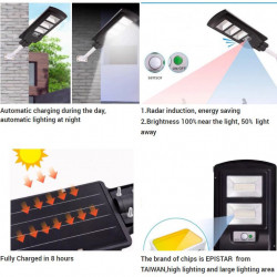 Set 2 X Lampa stradala SOLARA 180W, telecomanda cu functii multiple