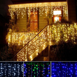 Set 3 x Instalatie franjuri 8m, 24m in total, 600LED ploaie lumini, interconectabila