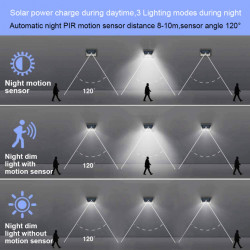 Lampa solara cu 190 LED-uri, 3 moduri de iluminare, waterproof IP65