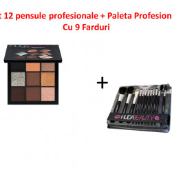 Set 12 pensule profesionale + Paleta Profesionala Cu 9 Farduri
