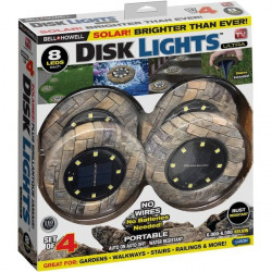 Set 4 lampi solare Disk Lights, 6500 lm, 8 Led-uri, model piatra