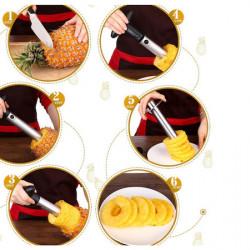 Curatator ananas, feliator ananas, otel inoxidabil, maner detasabil
