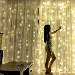 Perdea premium LED pentru interior/exterior cu telecomanda si joc de lumini