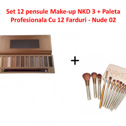 Set 12 pensule Make-up NKD 3 + Paleta Profesionala Cu 12 Farduri - Nude 02