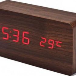 Ceas de birou cu LED Wood Style si afisare temperatura