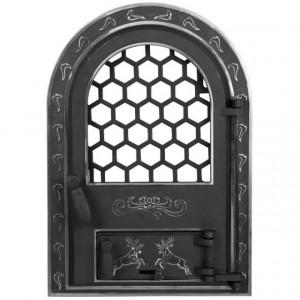 Usa Soba cu Geam Mare Cerbi si Ornamente Argintii 425 x 610 mm