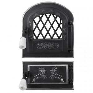 Usa Soba cu Geam si Cenusar Cerbi Ornamente Argintii 255 x 275 mm
