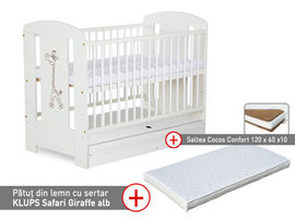 Patut cu sertar KLUPS Safari Giraffe Alb + Saltea 10 Confort II