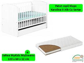 Patut Cu Sertar KLUPS Karolina II Alb + Saltea 12 MyKids MyDreams II