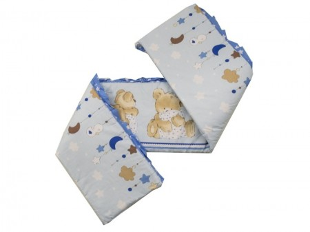Lenjerie MyKids Teddy Hug Blue 4 Piese 140x70